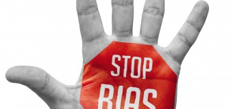 Stop Bias Sign Painted, Open Hand Raised, Isolated on White Background.